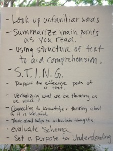 handwritten reading strategies suggested by workshop participants