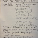 Handwritten list of reading strategies suggested by workshop participants
